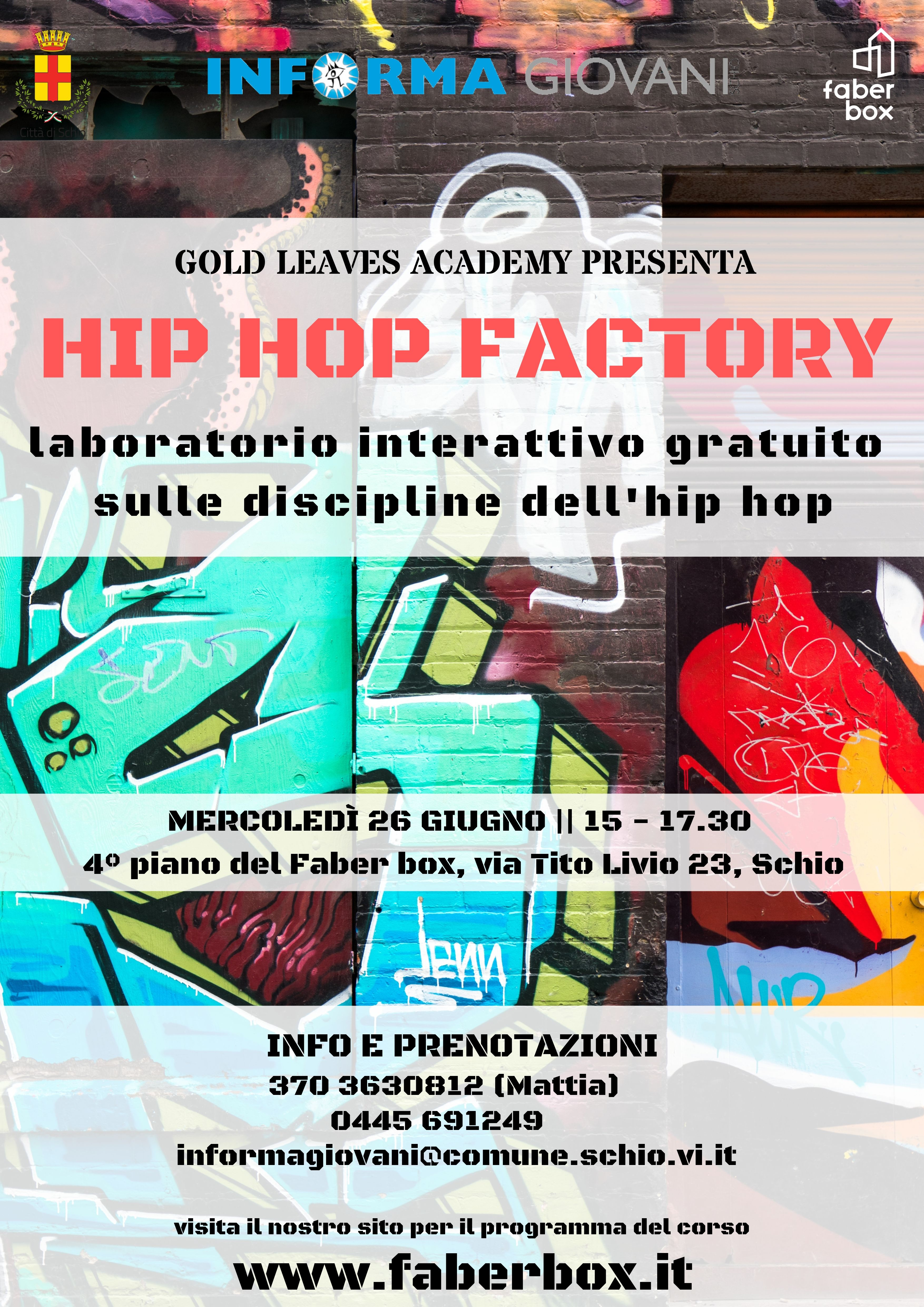 HIP HOP FACTORY – laboratorio gratuito & Dj set live