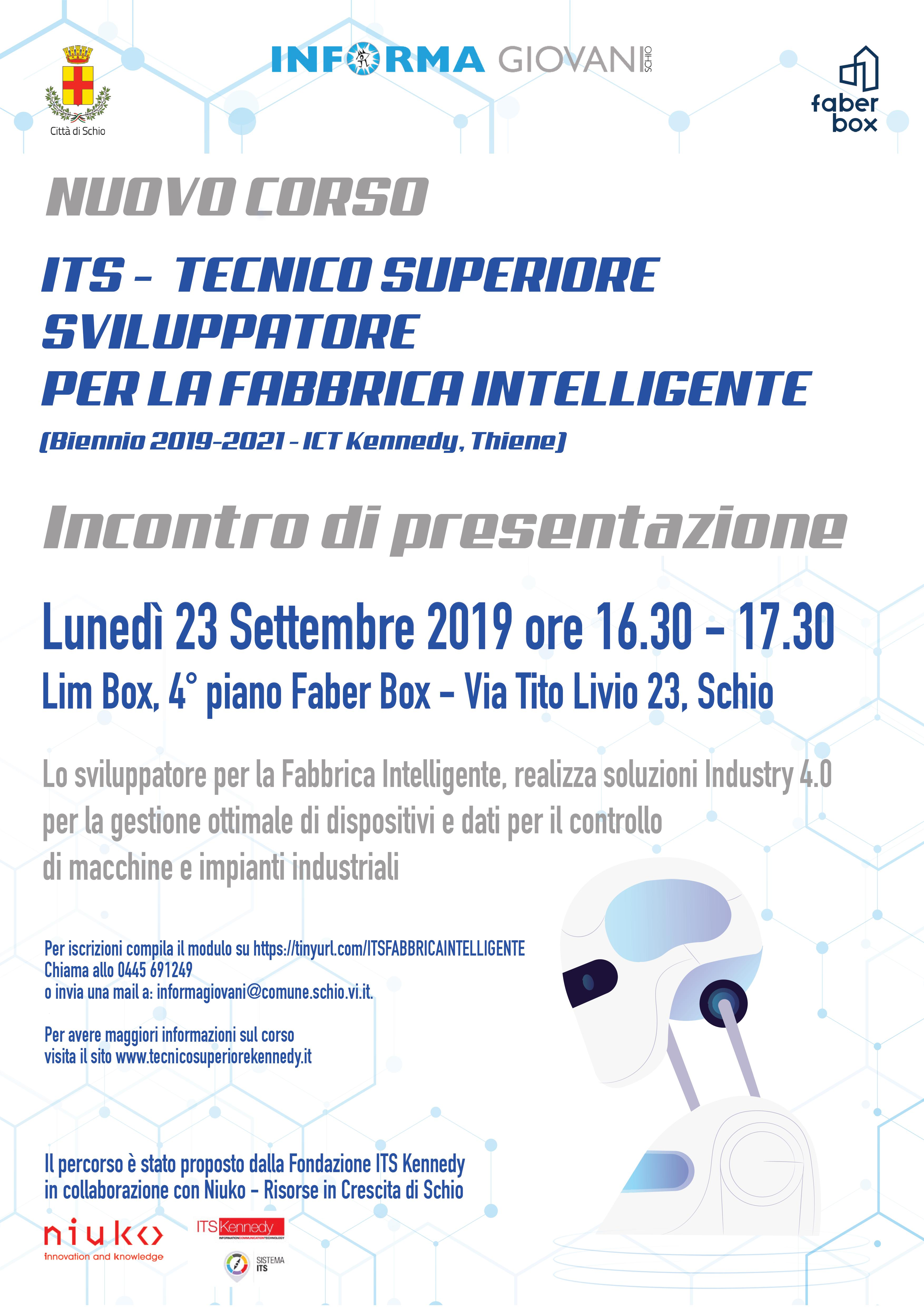 Presentazione nuovo ITS Tecnico Superiore Sviluppatore per la Fabbrica intelligente