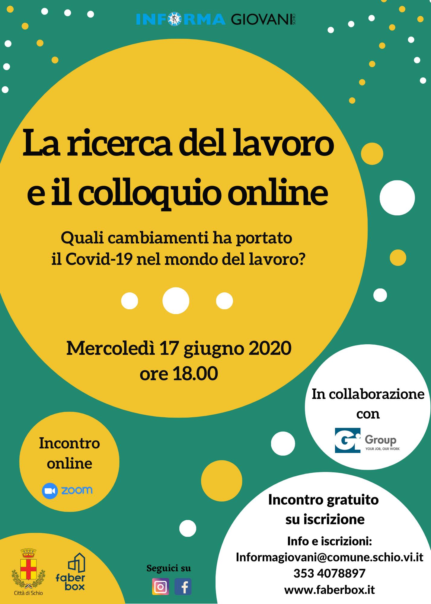 Incontro online: La ricerca del lavoro e il colloquio online