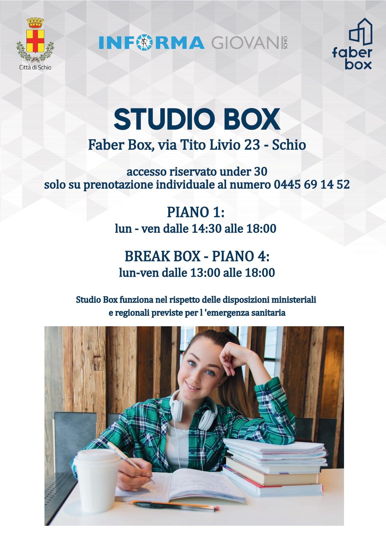 STUDIO BOX e BREAK BOX (spazio dedicato allo studio degli under 30)