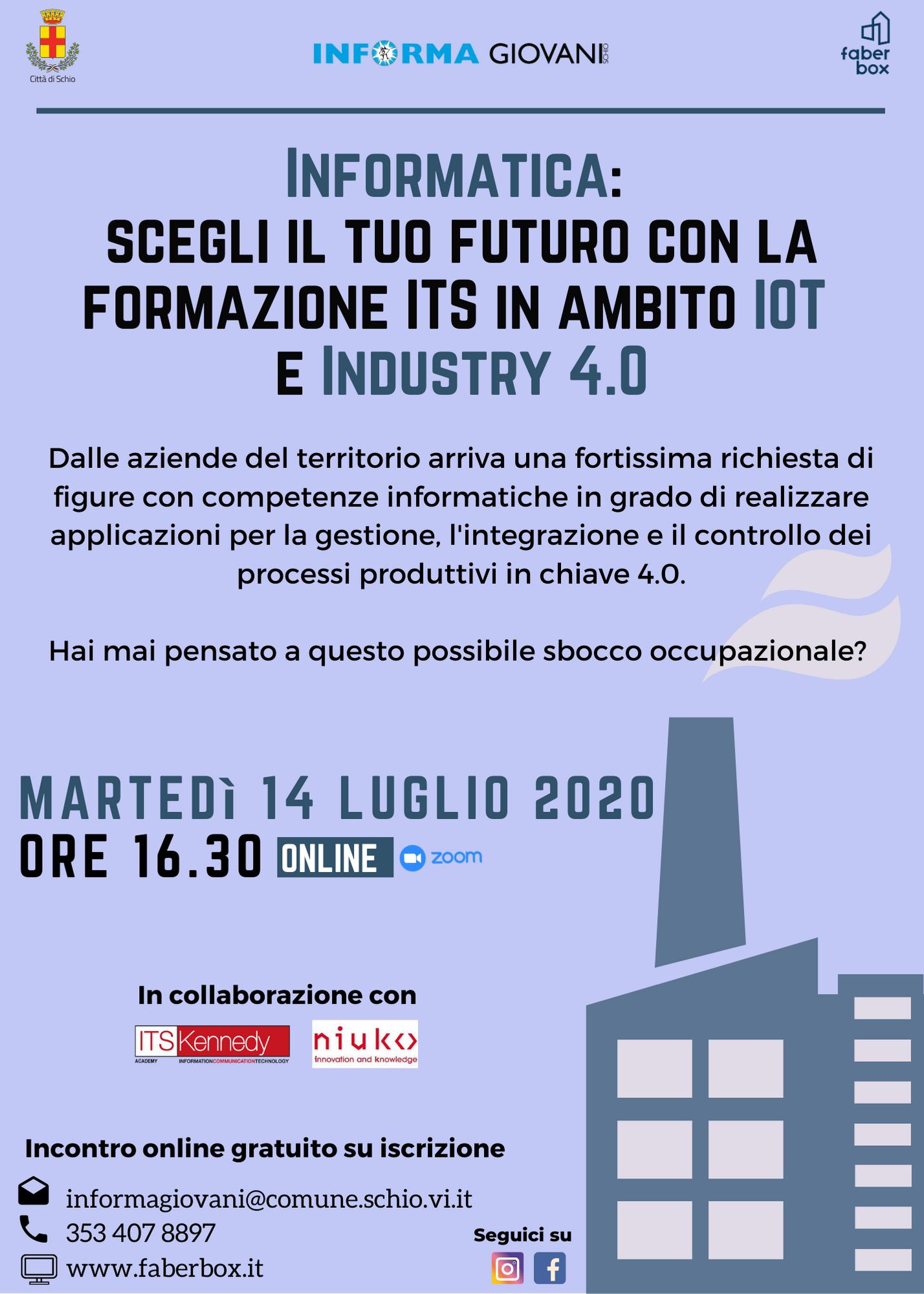 Incontro online – Informatica: scegli il tuo futuro con la formazione ITS in ambito IOT  e Industry 4.0