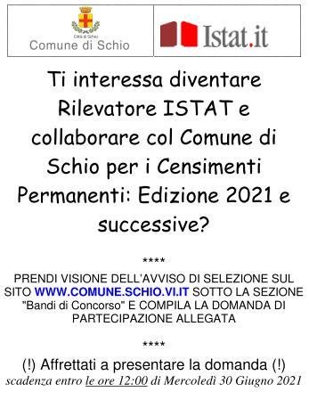 Selezione per rilevatori ISTAT e collaboratori con il Comune di Schio