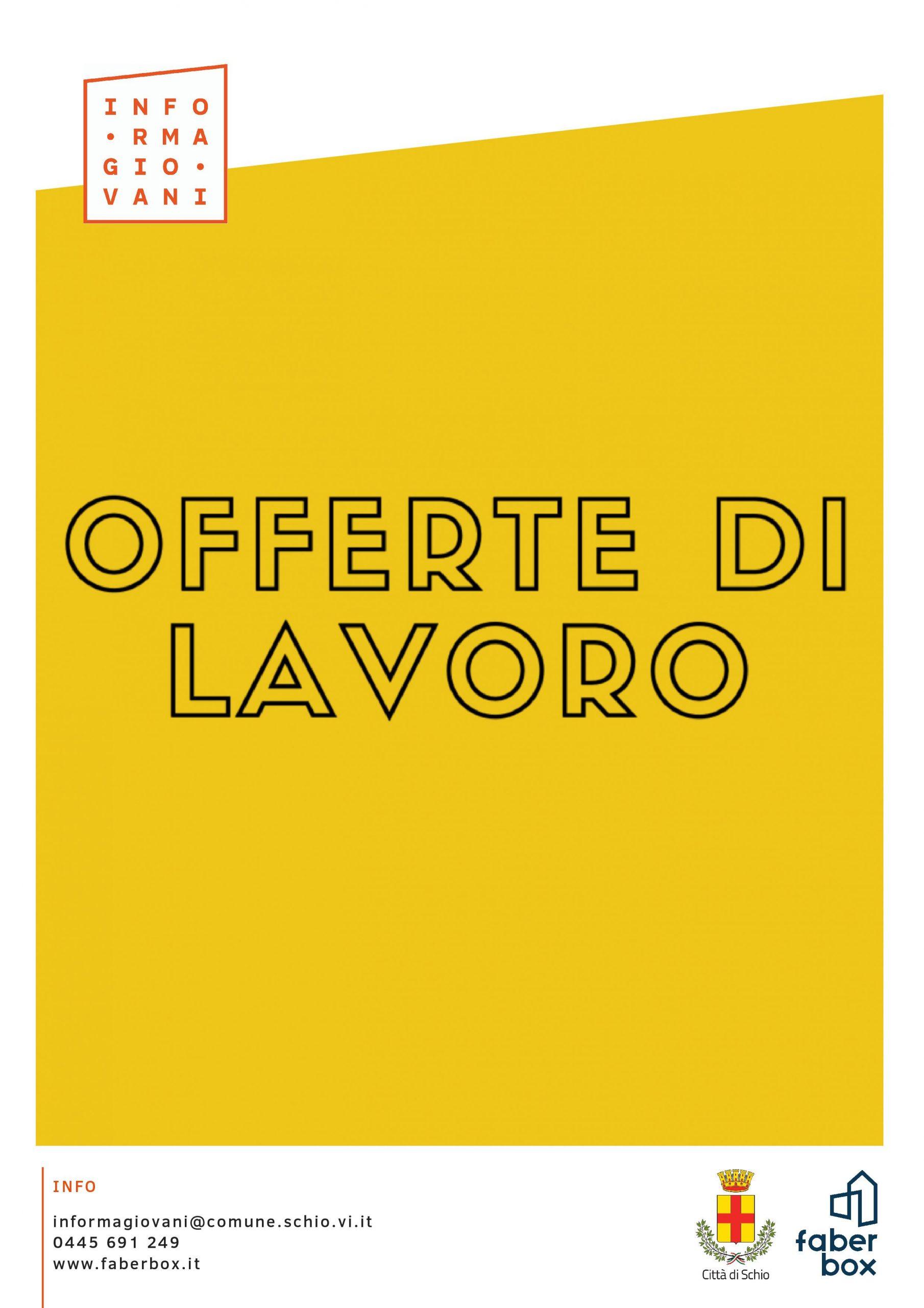 OFFERTE DI LAVORO – 29 SETTEMBRE 2021